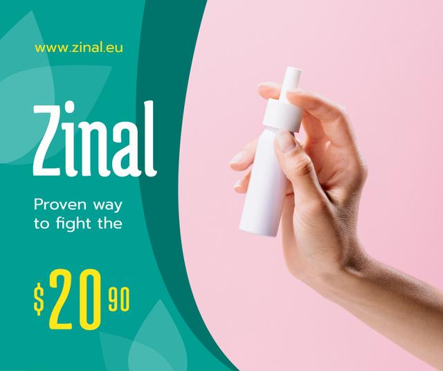 Ontwerpsjabloon van Facebook van Medication Ad Woman Holding Spray Bottle