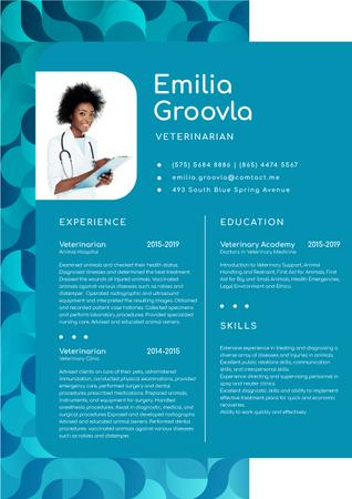Veterinary Medicine skills and experience Resume – шаблон для дизайну