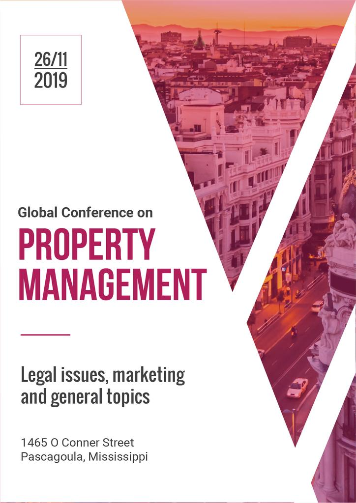 Property Management Conference Invitation with City View — Modelo de projeto