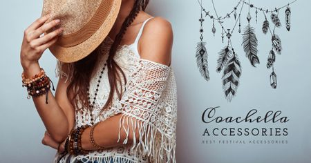 Plantilla de diseño de Music and Arts Coachella Festival accessories Facebook AD