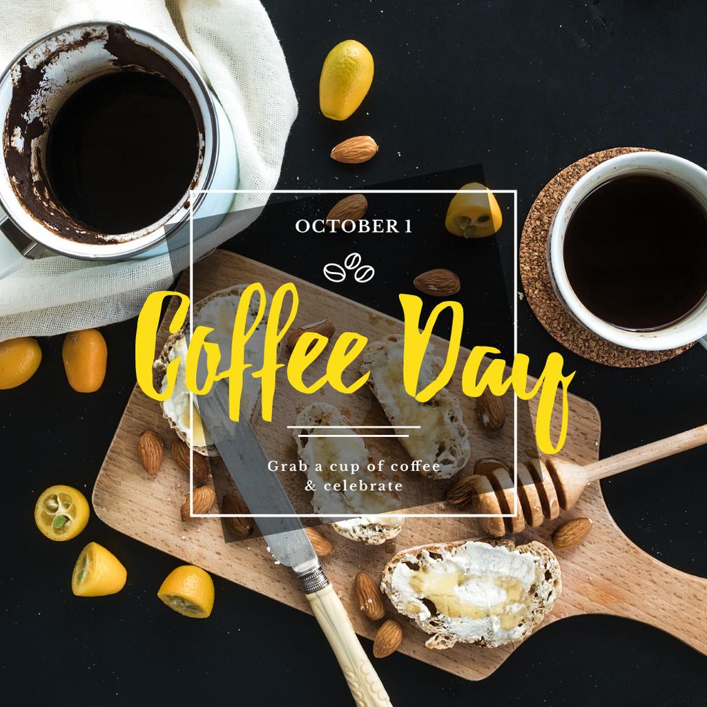 Coffee day Ad with Tasty Breakfast — Создать дизайн