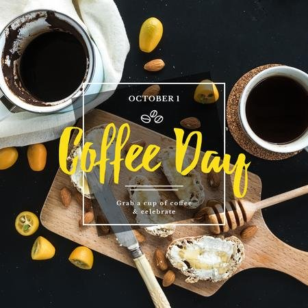Modèle de visuel Coffee day Ad with Tasty Breakfast - Instagram
