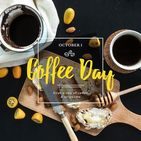 Coffee day Ad with Tasty Breakfast Instagram Modelo de Design