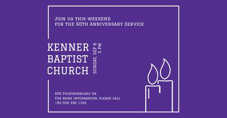 Plantilla de diseño de Baptist Church Invitation with Candles Facebook AD