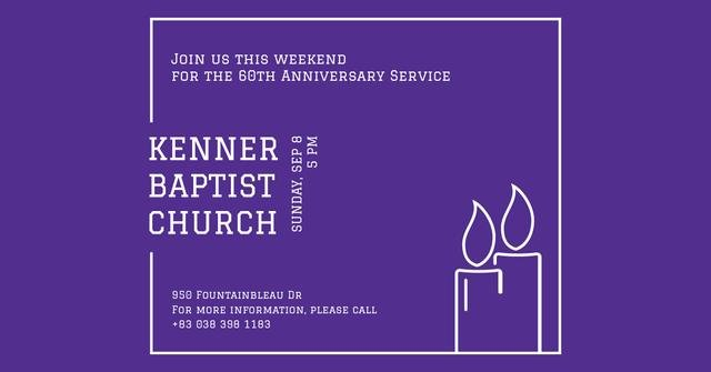 Template di design Baptist Church Invitation with Candles Facebook AD