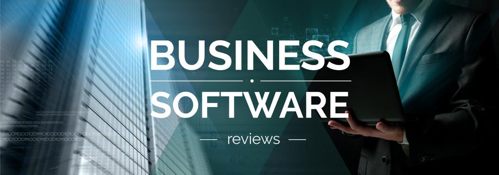 Plantilla de diseño de Business Software Review Man Typing on Laptop Tumblr