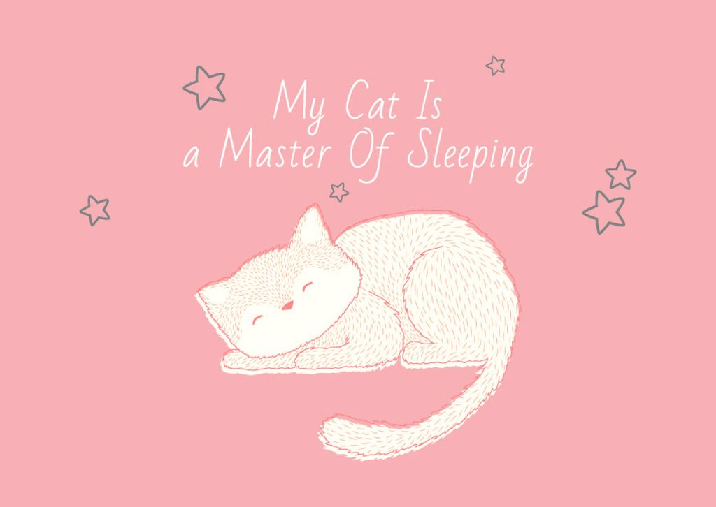 Cute Cat Sleeping in Pink — Créer un visuel