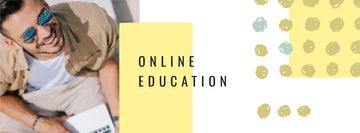 Online Education concept with Man working on laptop