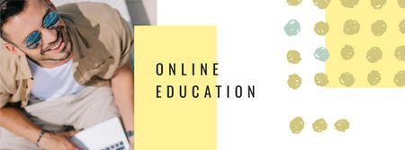 Modèle de visuel Online Education concept with Man working on laptop - Facebook cover
