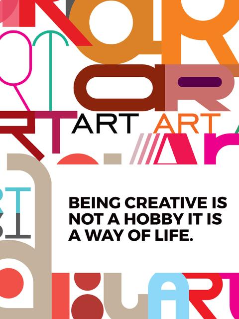 Creativity Quote on colorful Letters Poster US Modelo de Design