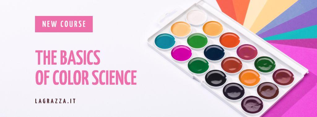 Plantilla de diseño de Art Course Promotion Box with Paint Facebook cover