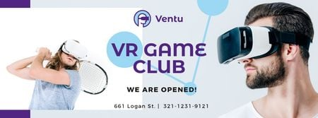 Plantilla de diseño de People Playing Tennis in VR Glasses Facebook cover