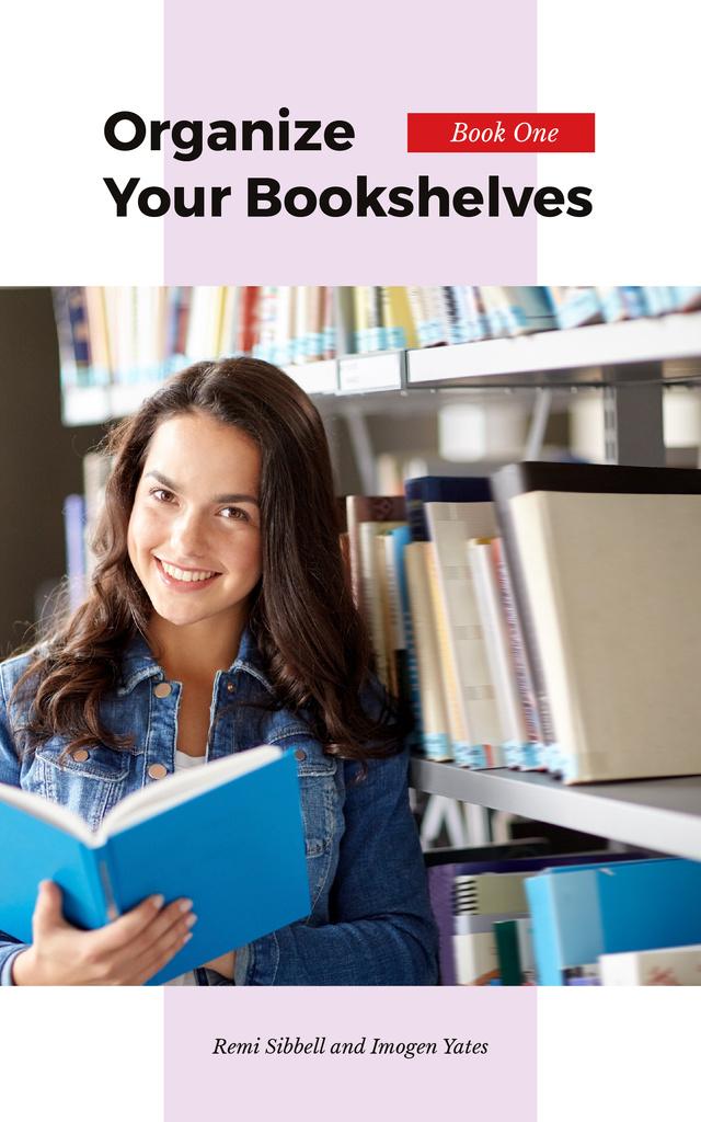 Girl Reading Book by Shelf — Modelo de projeto