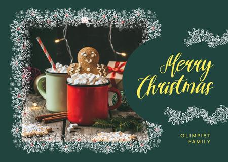 Designvorlage Merry Christmas Greeting Cocoa with Ginger Cookies für Card