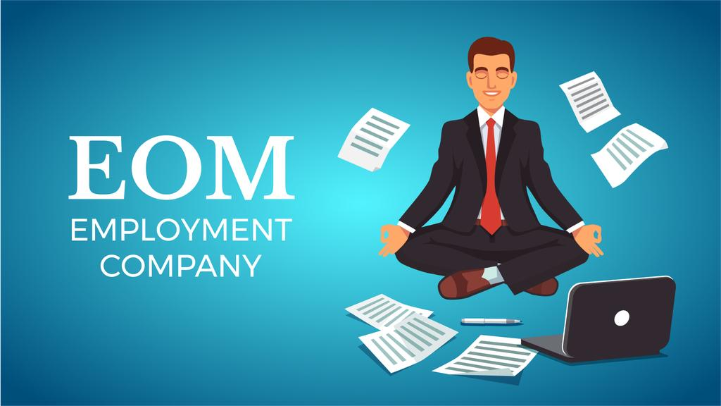 Businessman Meditating at Work in Blue — Crea un design