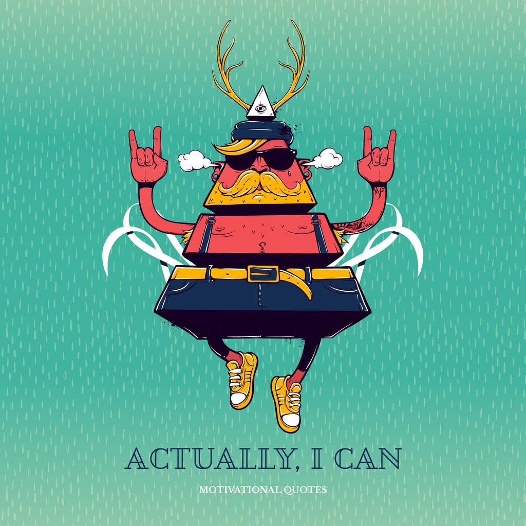 Motivational quote cartoon poster — Create a Design