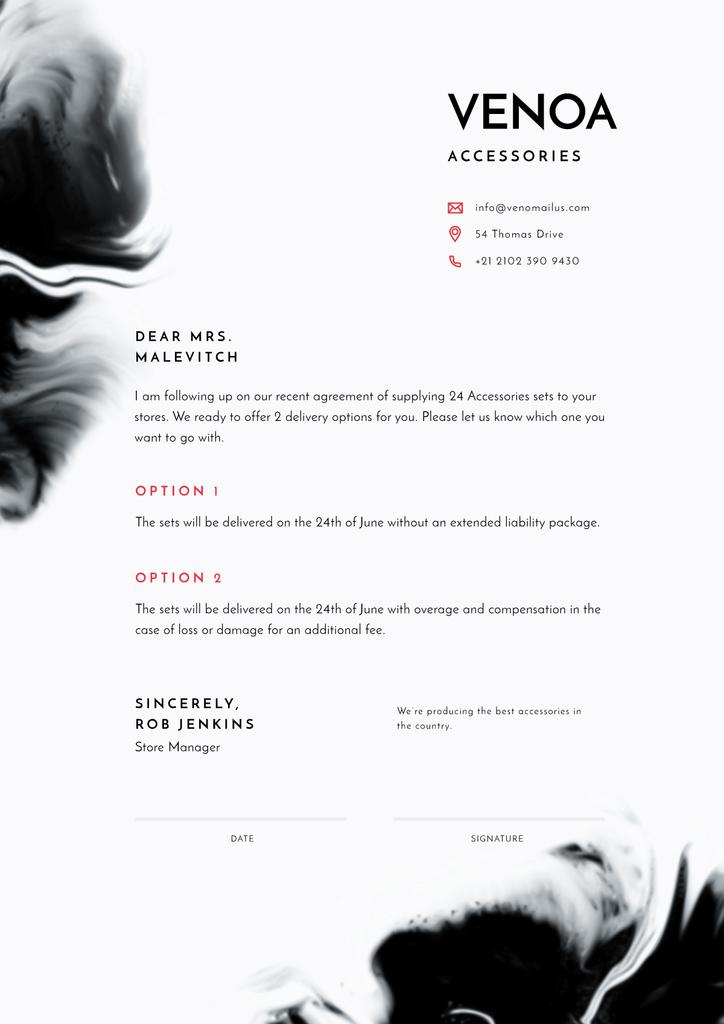 Accessories Seller contract agreement — Crea un design