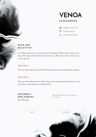 Ontwerpsjabloon van Letterhead van Accessories Seller contract agreement