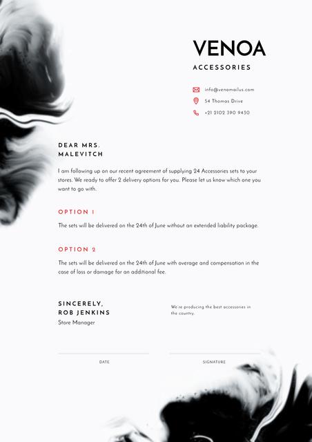 Accessories Seller contract agreement Letterhead Πρότυπο σχεδίασης