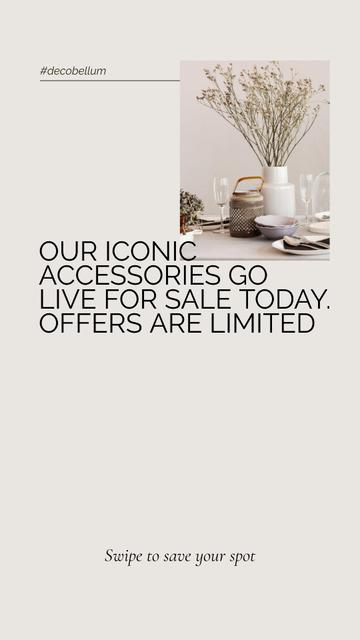 Template di design Decorative accessories Offer with vintage tableware on table Instagram Story