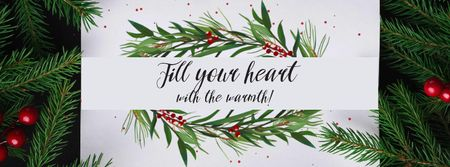 Szablon projektu Holidays Greeting with Fir Tree and Berries Facebook Video cover