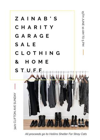 Charity Sale announcement Black Clothes on Hangers Invitationデザインテンプレート
