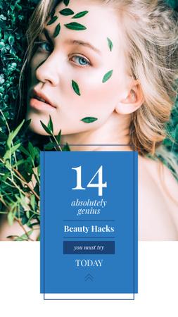 Plantilla de diseño de Beauty Hacks Ad with Woman in Green Leaves Instagram Story