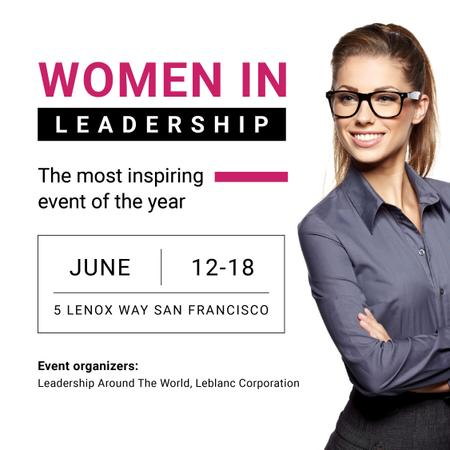 Designvorlage Business Event Announcement Confident Woman in Glasses für Instagram