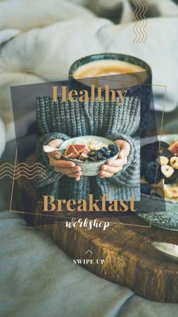 Plantilla de diseño de Woman holding Breakfast meal with berries Instagram Story