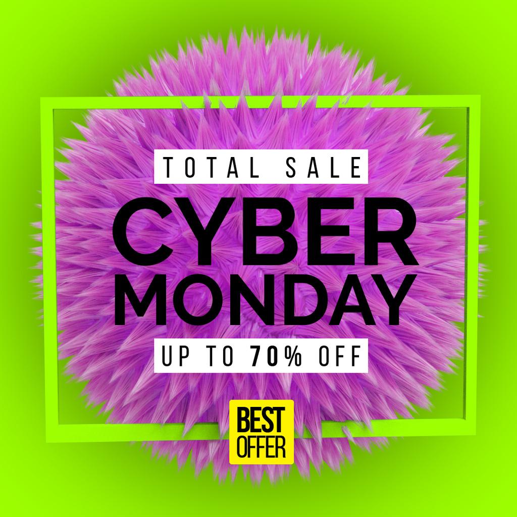 Cyber Monday Announcement with Spiky digital sphere — Modelo de projeto