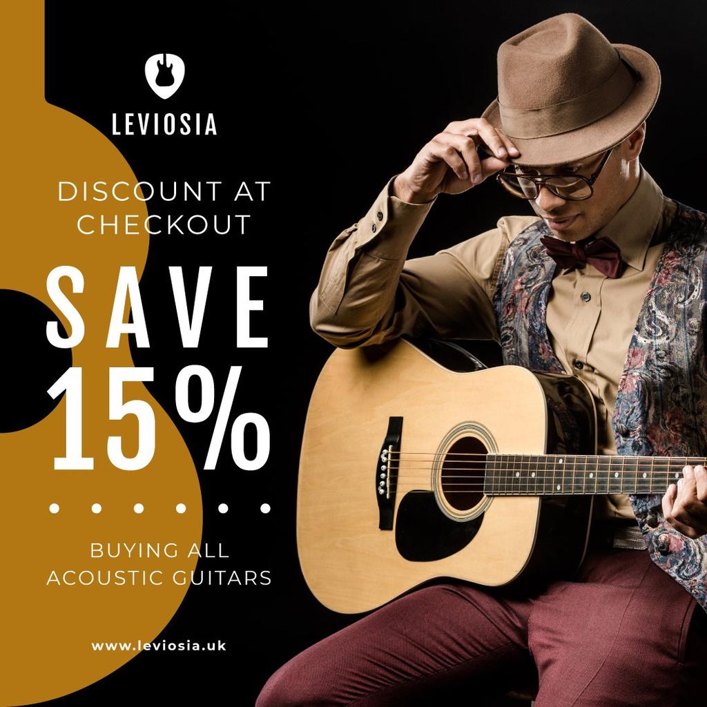 Stylish Musician playing Guitar — Crear un diseño