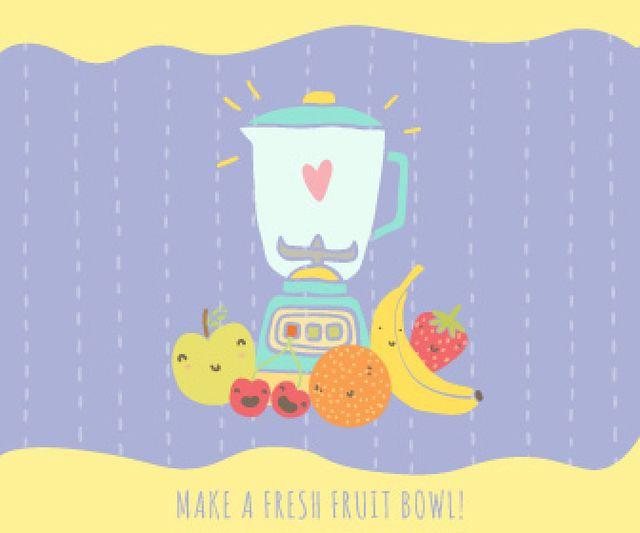 Designvorlage Raw Fruits with Kitchen Blender für Large Rectangle