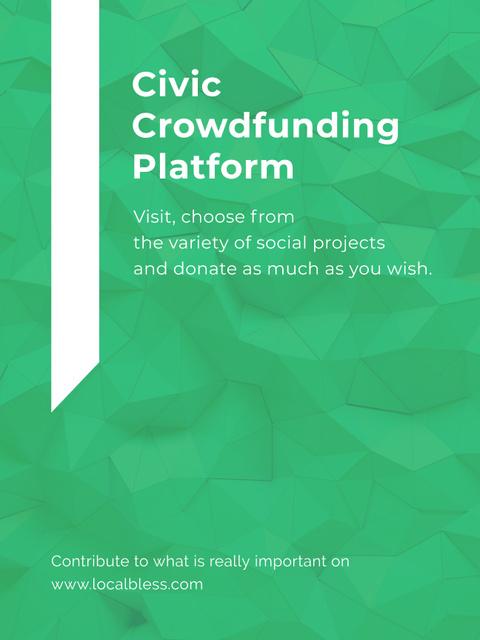 Crowdfunding Platform ad on Stone pattern Poster US – шаблон для дизайна