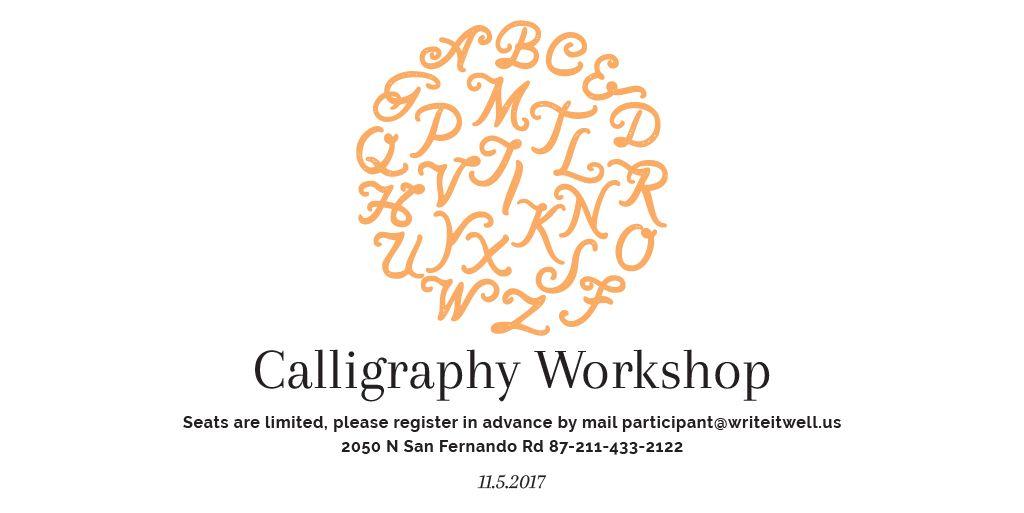 Plantilla de diseño de Calligraphy workshop Announcement Twitter