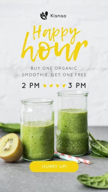 Organic Smoothie with fresh kiwi Instagram Story Design Template