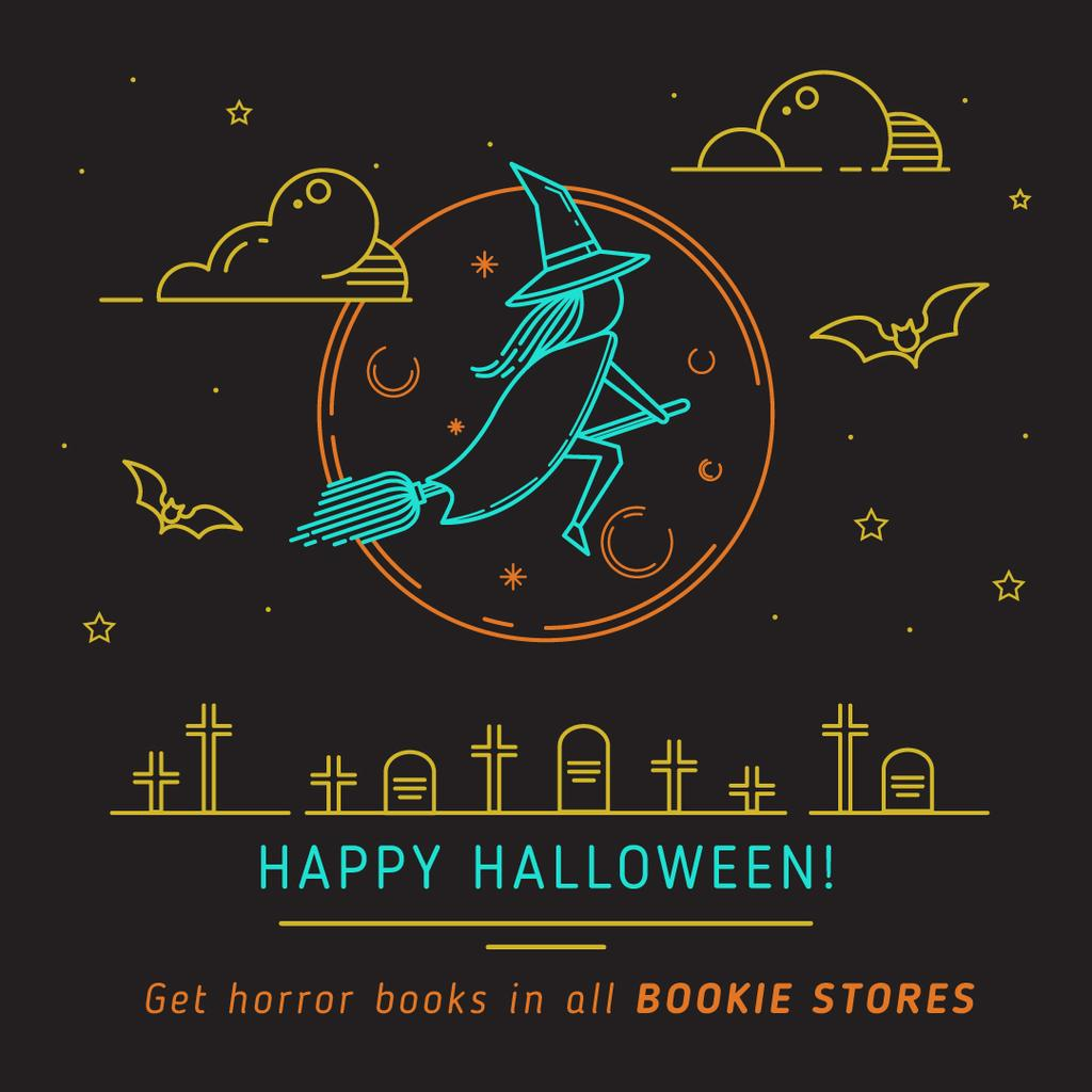 Happy Halloween poster for bookstores — Modelo de projeto