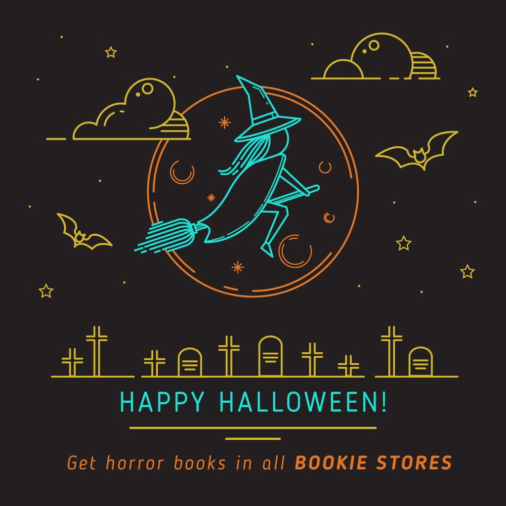 Happy Halloween poster for bookstores — Crea un design