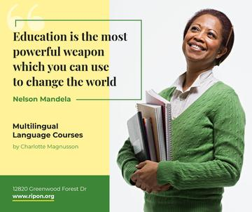 Education Quote Smiling Woman with Books | Facebook Post Template