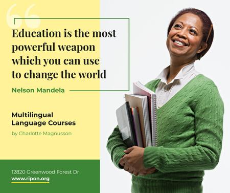 Education Quote Smiling Woman with Books Facebook Modelo de Design