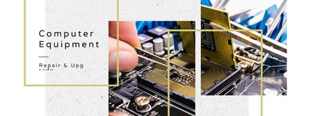 Engineer working with circuit board Facebook cover Modelo de Design