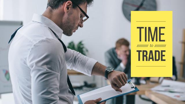 Businessman with Clipboard in Office Presentation Wide – шаблон для дизайну