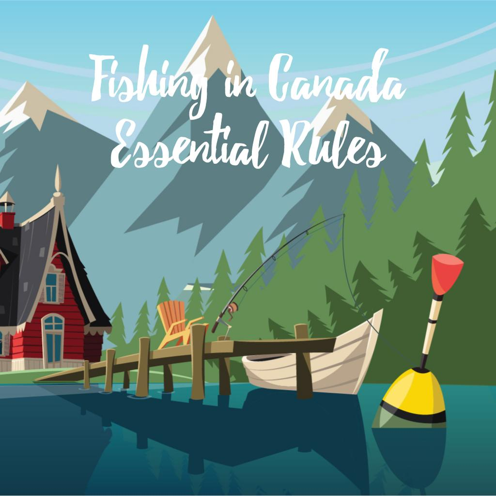 Boat and fishing rod on mountain lake — Crea un design