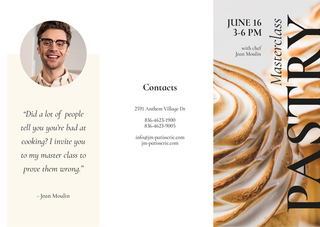 Pastry Baking Masterclass Announcement Brochure Modelo de Design