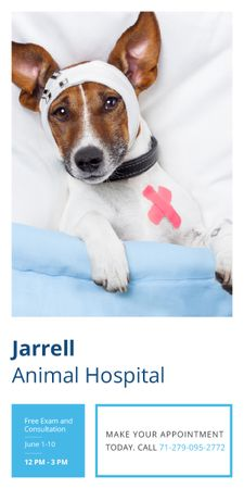 Plantilla de diseño de Animal Hospital Ad with Cute injured Dog Graphic