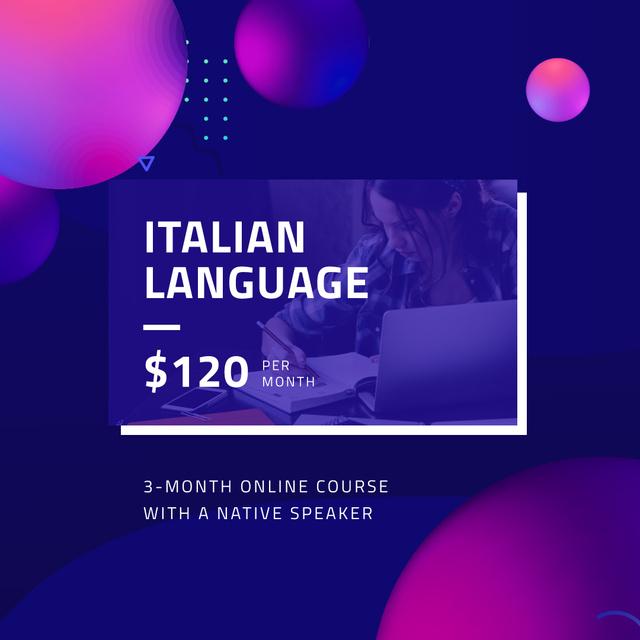 Italian language Online Course Ad Instagram – шаблон для дизайну