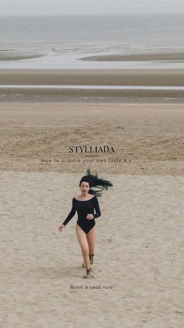 Plantilla de diseño de Fashion Shop Offer with Woman running on the beach Instagram Story
