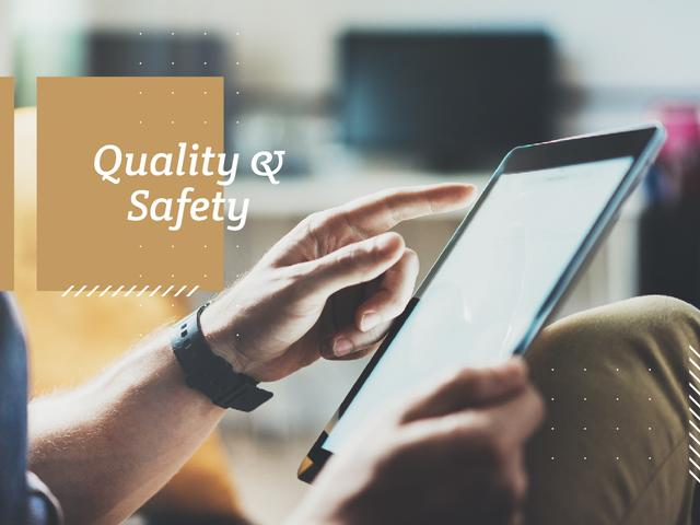 Quality and Safety tablet Presentation – шаблон для дизайна