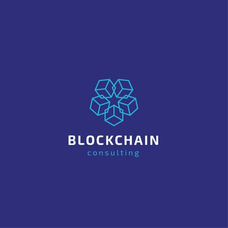 Blockchain Consulting Cubes Icon in Blue Logoデザインテンプレート