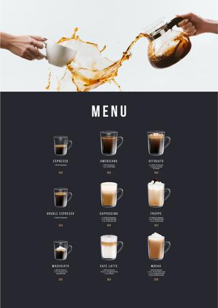 Coffee drinks variety Menu Modelo de Design
