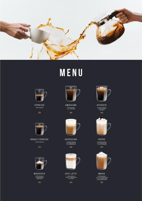 Template di design Coffee drinks variety Menu